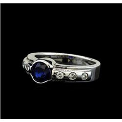 1.28 ctw Blue Sapphire and Diamond Ring - 14KT White Gold
