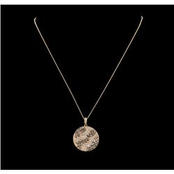 1.65 ctw Brown and White Diamond Pendant & Chain - 14KT Rose Gold