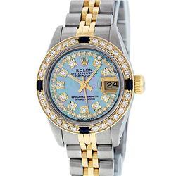 Rolex Ladies 2 Tone 14K Blue MOP Diamond & Sapphire Datejust Wriswatch