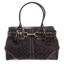 Coach Black Monogram Canvas Leather Medium Shoulder Handbag