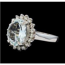 3.48 ctw Aquamarine and Diamond Ring - 14KT White Gold