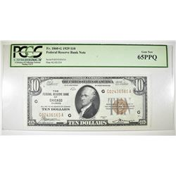 1929 $10 FRBN CHICAGO DISTRICT  PCGS 65PPQ