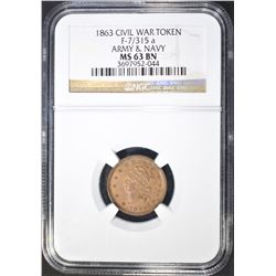 "1863 CWT ""ARMY & NAVY""  NGC MS-63 BN"