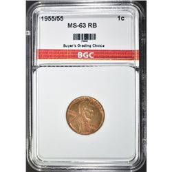 1955/55 DOUBLED DIE LINCOLN CENT, BGC CH BU RB