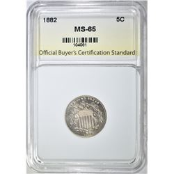1882 SHIELD NICKEL, OBCS GEM BU