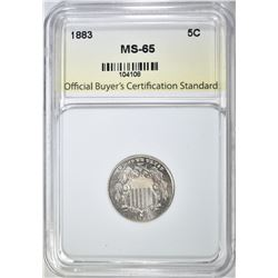 1883 SHIELD NICKEL, OBCS GEM BU