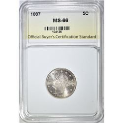 "1887 LIBERTY ""V"" NICKEL, OBCS SUPERB GEM BU"
