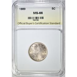 "1889 LIBERTY ""V"" NICKEL, OBCS SUPERB GEM BU"