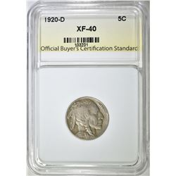 1920-D BUFFALO NICKEL, OBCS XF