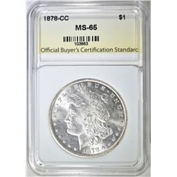 1878-CC MORGAN DOLLAR, OBCS, GEM BU
