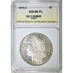 1879-S MORGAN DOLLAR, OBCS GEM BU PL