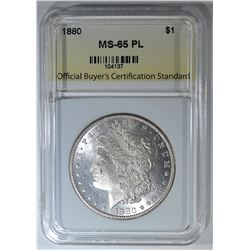 1880 MORGAN DOLLAR, OBCS, GEM BU PL