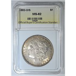 1882-O/S MORGAN DOLLAR, OBCS, BU+