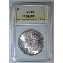1884 MORGAN DOLLAR, OBCS, SUPERB GEM BU