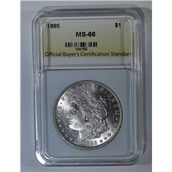 1885 MORGAN DOLLAR, OBCS, SUPERB GEM BU