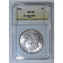 1896 MORGAN DOLLAR, OBCS SUPERB GEM BU