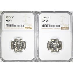 (2) 1965 JEFFERSON NICKELS NGC MS-66