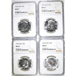 2-1966 SMS & 2-1967 SMS KENNEDY HALVES, NGC MS-67
