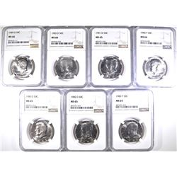 NGC GRADED  KENNEDY HALF DOLLARS, ALL MS-65