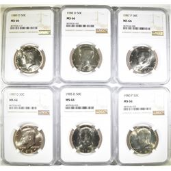 KENNEDY HALF DOLLAR LOT, ALL NGC MS-66