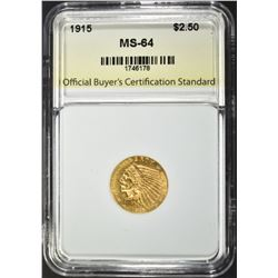 1915 $2.50 GOLD INDIAN, OBCS CH/GEM BU