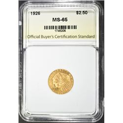 1926 $2.50 GOLD INDIAN, OBCS GEM BU