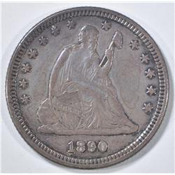 1890 SEATED LIBERTY QUARTER   AU/BU
