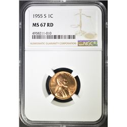 1955-S LINCOLN CENT NGC MS-67 RD