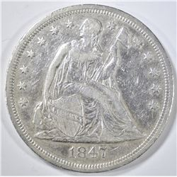 1847 SEATED LIBERTY DOLLAR  XF