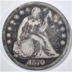 1870-CC SEATED LIBERTY DOLLAR  VG/F