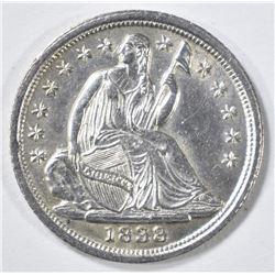 1838 HALF DIME, CH BU