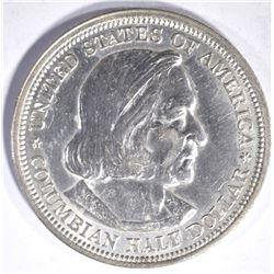 1893 COLUMBIAN COMMEM HALF DOLLAR, GEM BU