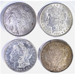 4 - MORGAN DOLLARS; 2-1921, 2-1921 D