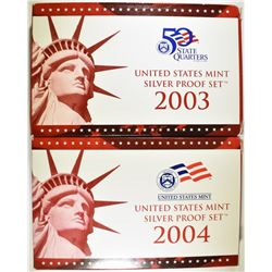 2003 & 04 U.S. SILVER PROOF SETS IN ORIG BOXES/COA