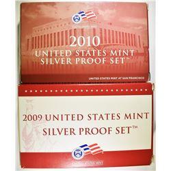 2009 & 10 U.S. SILVER PROOF SETS ORG BOXES/COA