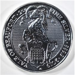 2019 2oz SILVER QUEENS BEAST YALE OF BEAUFORT COIN