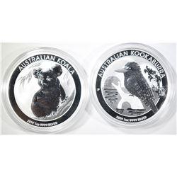 2019 AUSTALIA 1os SILVER KOALA & KOOKABURRA COINS