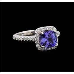 14KT White Gold 1.99 ctw Tanzanite and Diamond Ring