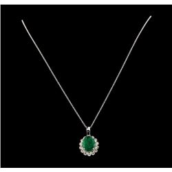 5.87 ctw Emerald and Diamond Pendant With Chain - 14KT White Gold
