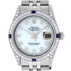 Rolex Mens Stainless Steel Diamond Lugs MOP Diamond & Sapphire Datejust Wristwat