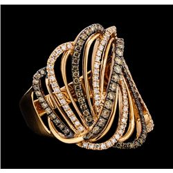 0.84 ctw White and Brown Diamond Ring - 14KT Rose Gold