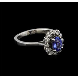0.90 ctw Tanzanite and Diamond Ring - 14KT White Gold