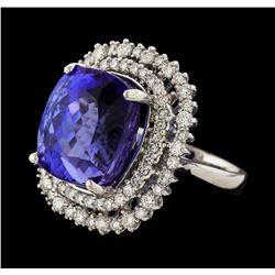 18.03 ctw Tanzanite and Diamond Ring - 14KT White Gold