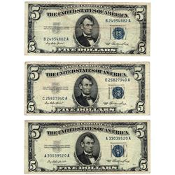 Lot (5) 1953 $5 Silver Certificate Notes