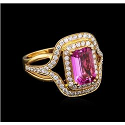 1.86 ctw Pink Sapphire and Diamond Ring - 18KT Rose Gold