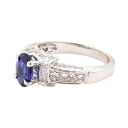 1.55 ctw Sapphire and Diamond Ring - 18KT White Gold