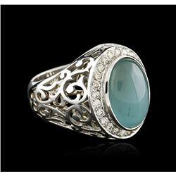 14KT White Gold 9.14 ctw Aquamarine and Diamond Ring