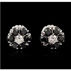14KT White Gold 3.32 ctw Black and White Diamond Earrings