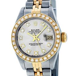 Rolex Ladies 2 Tone 14K Silver VS Diamond Datejust Wristwatch