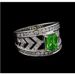 1.31 ctw Tsavorite and Diamond Ring - 14KT White Gold